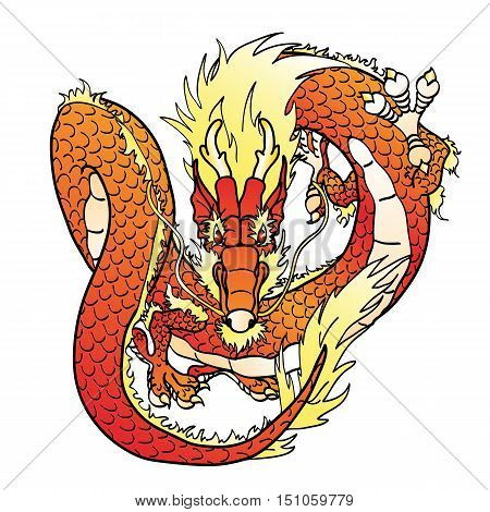 Flying red Chinese Asian dragon on white. Vector illustration, isolated.
