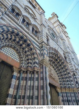 Entrance To The San Lorenzo Cathedral In Genova