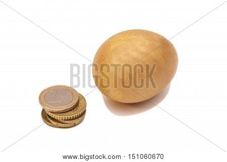 Golden Egg And Euro Coins Money .
