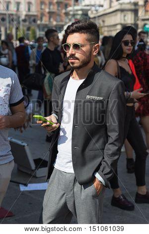 Fashionable Man Posing During Milan Fashion Week