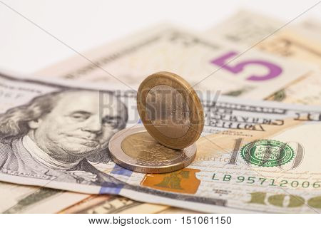 Euro Coins And Dollars US Banknotes Money