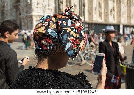 Fashionable Women Posing During Milan Fashion Week