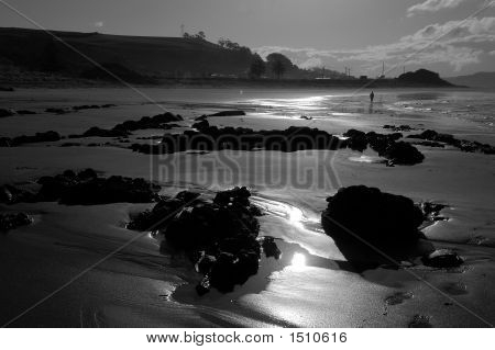 Lone Beach Walker In Tasmania