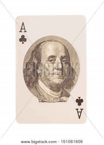 Ace of clubs playing card with Portrait of Benjamin Franklin