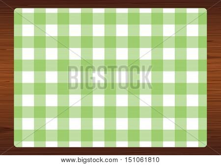 Green & white gingham check placemat print.