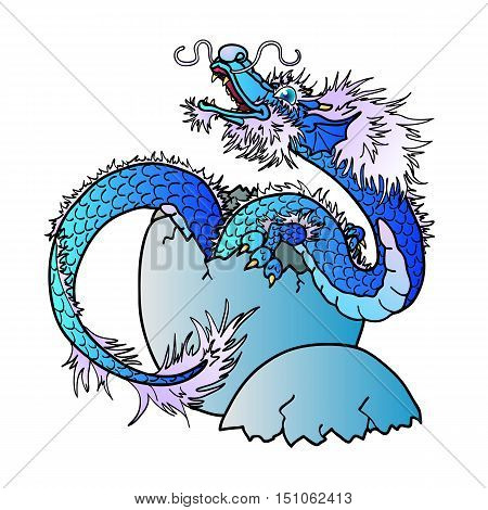 Newborn blue water asian east dragon on white background. Vector illustration.