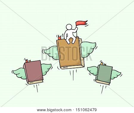 Sketch of flying books with little worker. Doodle cute miniature scene about education. Hand drawn cartoon vector illustration for business and study design.