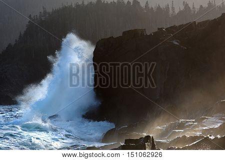 Waves breaking over rocks along the Newfoundland coastline.