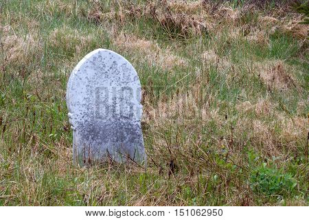 Old gravestone in a field with grass.