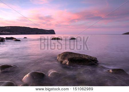 Sunset along the Newfoundland and Labrador coastline.