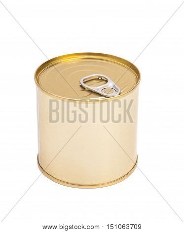 Tin can conserve food over white background
