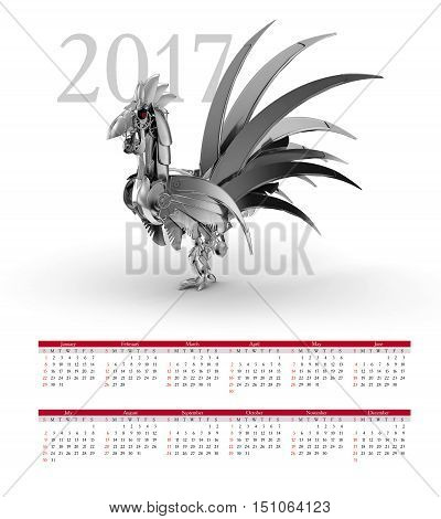 Calendar 2017. The Robot-rooster