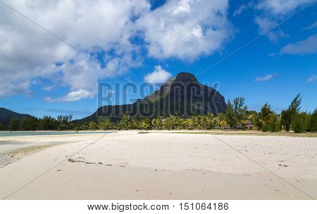 Le Morne Brabant In Mauritius With Beach Panorama
