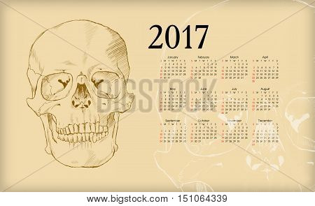 Calendar 2017. The human skull on a brown background.