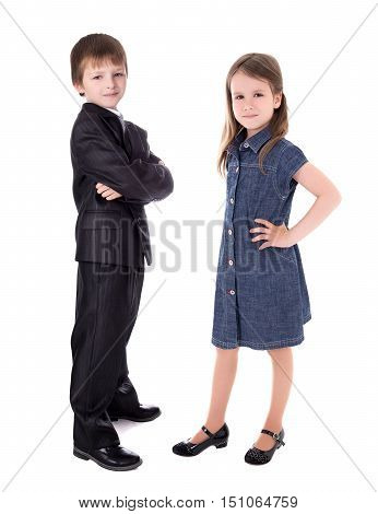 Little Boy In Business Suit And Girl In Dress Isolated On White