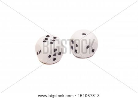 white dices isolated on white background .
