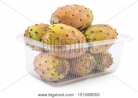 Box or punnet of fresh prickly pears, opuntia, indian fig, ficus-indica fruit isolated on a white background