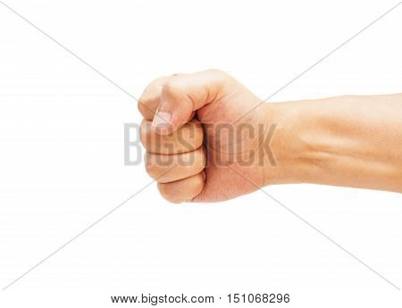 - Hand with clenched a fist, isolated on a white background