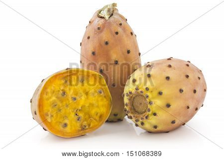 Prickly pears, opuntia, indian fig, ficus-indica fruit isolated on a white background. Cross section