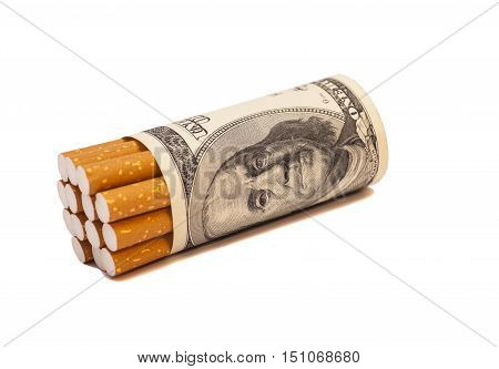 Cigarettes and one hundred dollar bill on white background