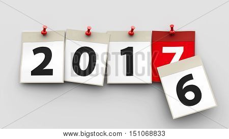 Calendar sheets with red pin and numbers 2017 on grey background represent start new year 2017 three-dimensional rendering 3D illustration
