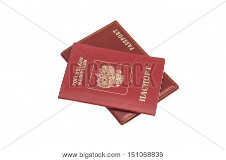 Russian Foriegn Passports isolated on white background