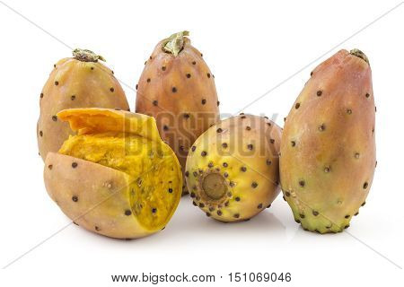 Prickly pears, opuntia, indian fig, ficus-indica fruit isolated on a white background. One is peeled