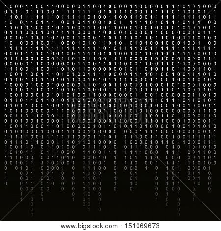 Binary code on a black background. binary algorithm, encryption, encoding matrix