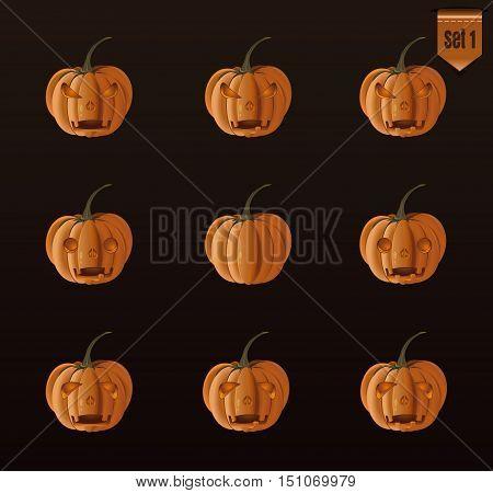 Set pumpkins for Halloween with Jack-o-lantern face. Vector illustration