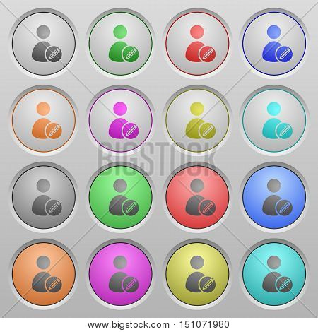 Set of edit user account plastic sunk spherical buttons.