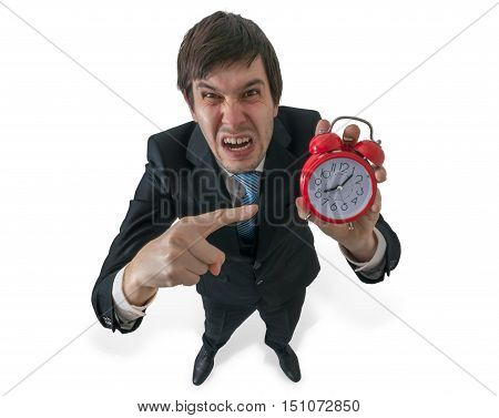 Angry Boss Is Yelling And Pointing On Clock. Deadline Concept.