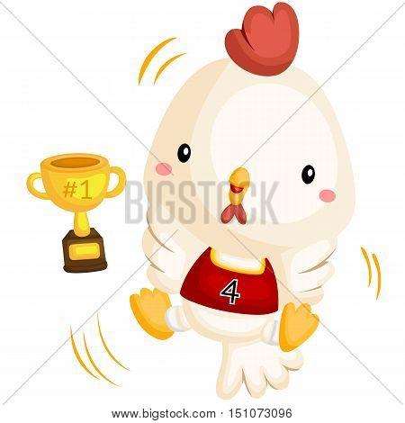 a cute happy chicken winning basketball match