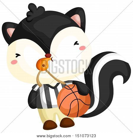 a skunk acting as the referee for a basketball game