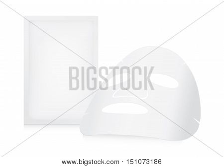 Facial sheet mask and sachet on white background
