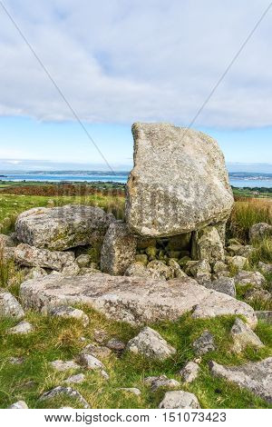 Arthur's Stone Neolithic chambered cairn or dolmen Gower Peninsula South WalesUK. Also known as Maen Ceti or the Great Stone of Sketty. Set on the the ridge-backed hill of Cefn Bryn with magnificent views of surrounding countryside and coast