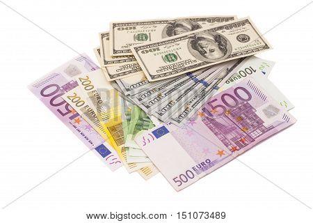 euro end dollar isolated on white background .