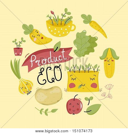 Eco product banner with cartoon vegetables characters isolated on yellow background. Natural products, organic foods shop or vegan cafe template. Healthy eating concept. Vegetarian food diet design