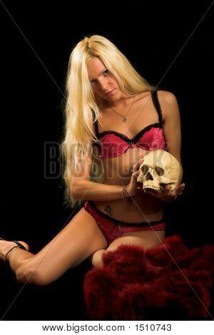 Woman In Underwear With Skull
