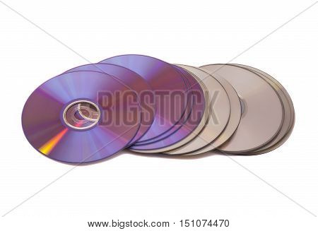 Stack of cd roms. disk on white background