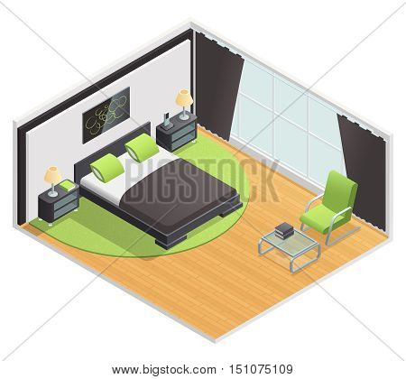 Bedroom interior isometric view with queen size double bed nightstand and lime green carpet abstract vector illustration