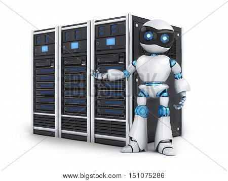 Robot and three servers on white background (done in 3d rendering)