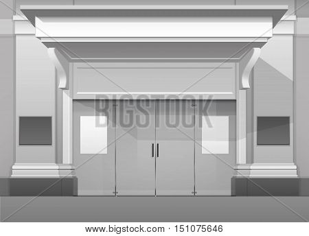 Vector Classic Shop  Boutique Building Store Front with Closed Glass Front Door, Columns, Roof  Visor and Place for Name Isolated on White Background