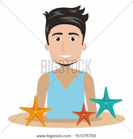 avatar man smiling with colorful seastars. summer vacations design. vector illustration