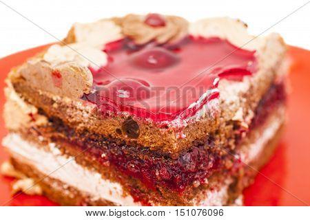 Slice Of Cake On dish on white