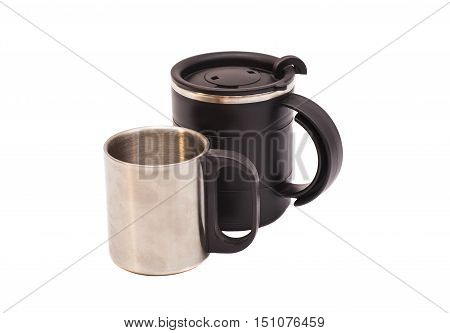 Thermos Travel Mugs on white background .