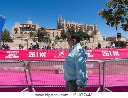 PALMA DE MALLORCA BALEARIC ISLANDS SPAIN - APRIL 10 2016: Cathedral view at the Women's marathon in Palma de Mallorca Balearic islands Spain on April 10 2016.