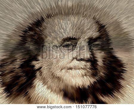 Portrait of U.S. president Benjamin Franklin .