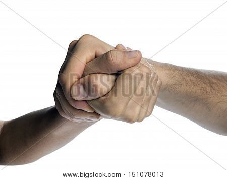 Struggle between the two rivals (arm wrestling). Image is isolated on white background. poster