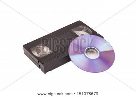 Old Video Cassette tape with DVD disc isolated on white background