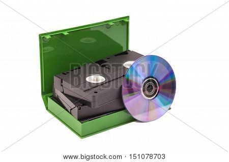 Old Video Cassettes tapes with DVD disc isolated on white background